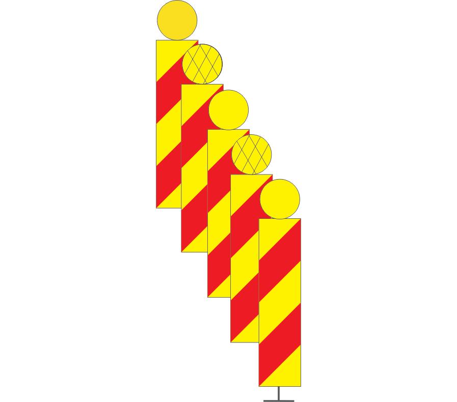 Balize cuplate cu lămpi de lumină galbenă intermitentă