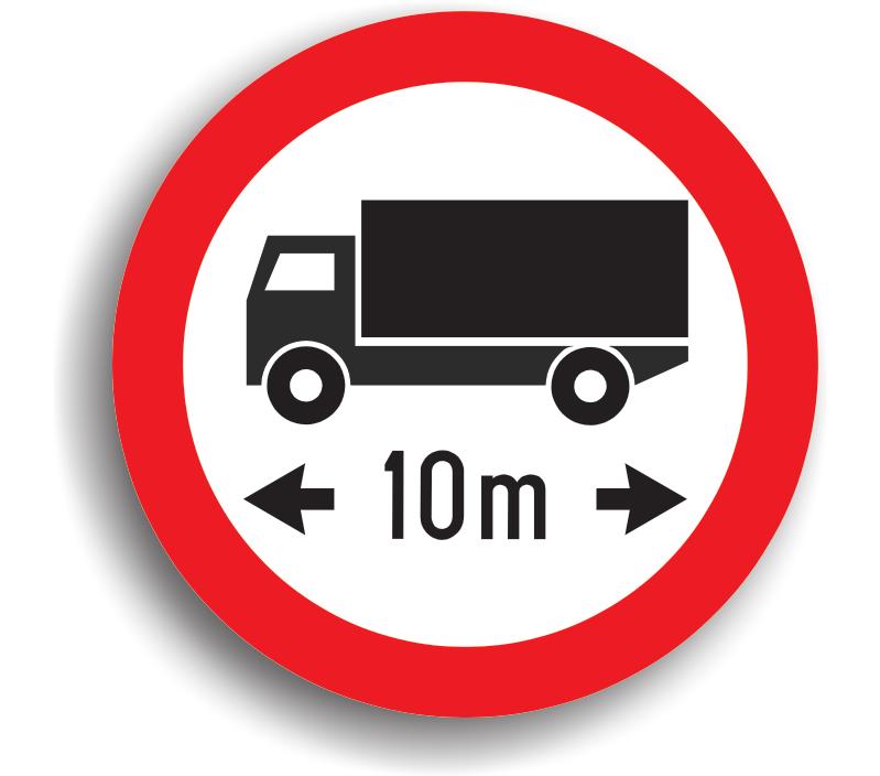 Accesul interzis autovehiculelor sau ansamblurilor de vehicule cu lungimea mai mare de ... m