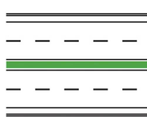 Marcaj pentru drumuri cu zonă verde de separare a sensurilor de circulație