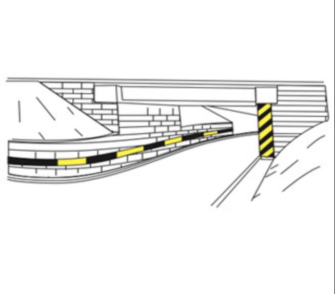 Marcaje pe ziduri de sprijin și pe infrastructurile pasajelor inferioare