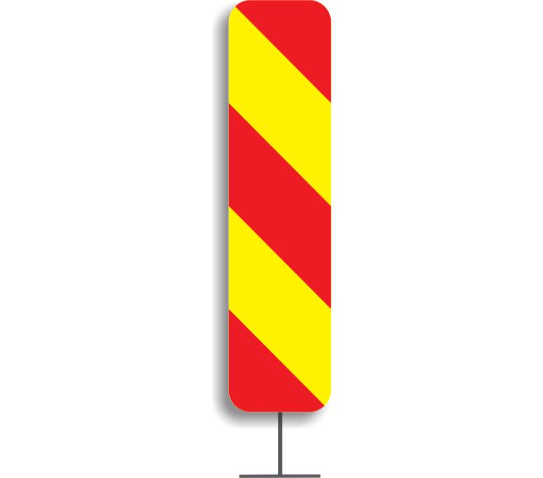 Baliză direcțională care indică ocolirea obstacolului prin dreapta