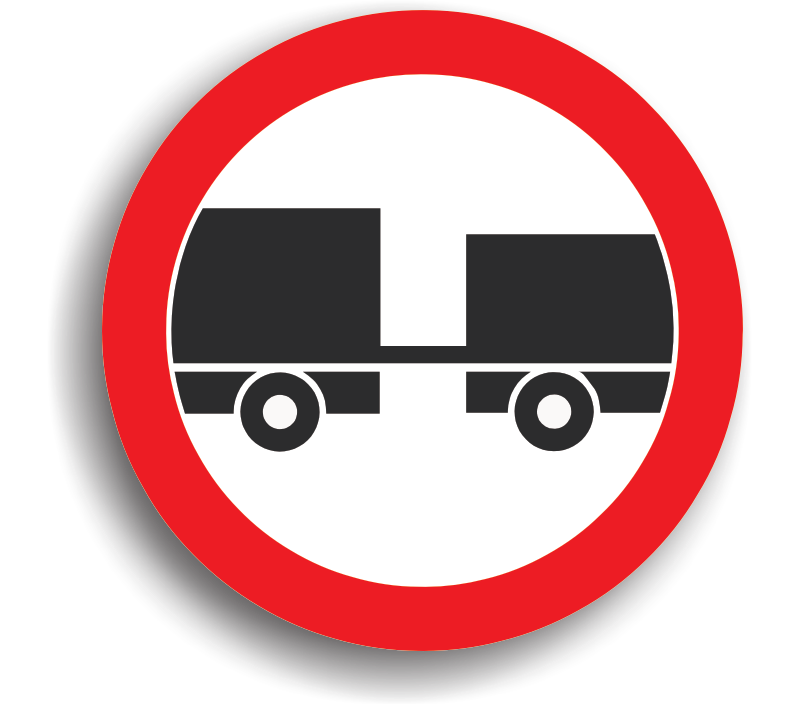 Accesul interzis autovehiculelor cu remorcă, cu excepția celor cu semiremorcă sau cu remorcă cu o osie