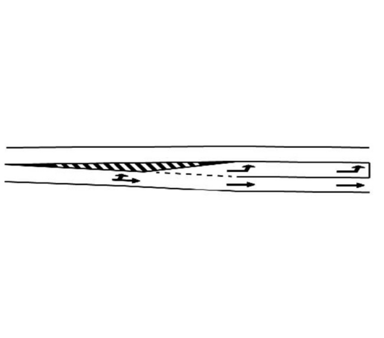 Marcajul benzii de stocaj pentru virajul stânga