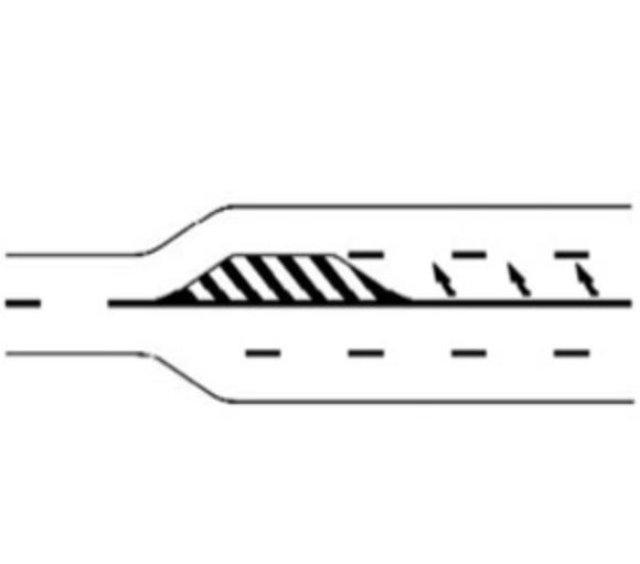 Marcaj la îngustarea drumului cu o bandă de sens
