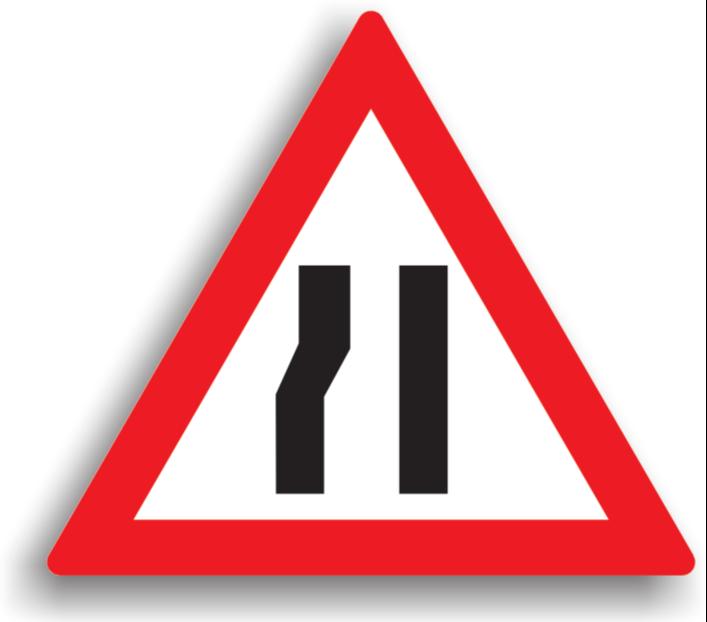 Drum îngustat pe partea stângă