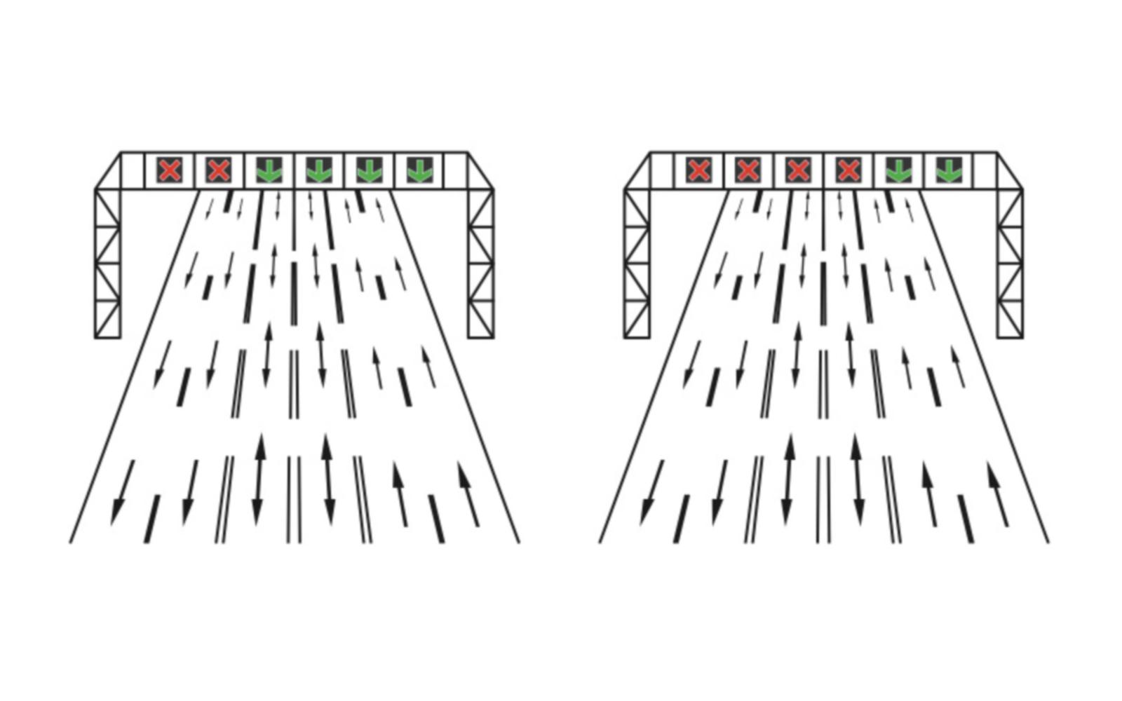Dispozitive luminoase pentru dirijarea circulației pe benzi reversibile