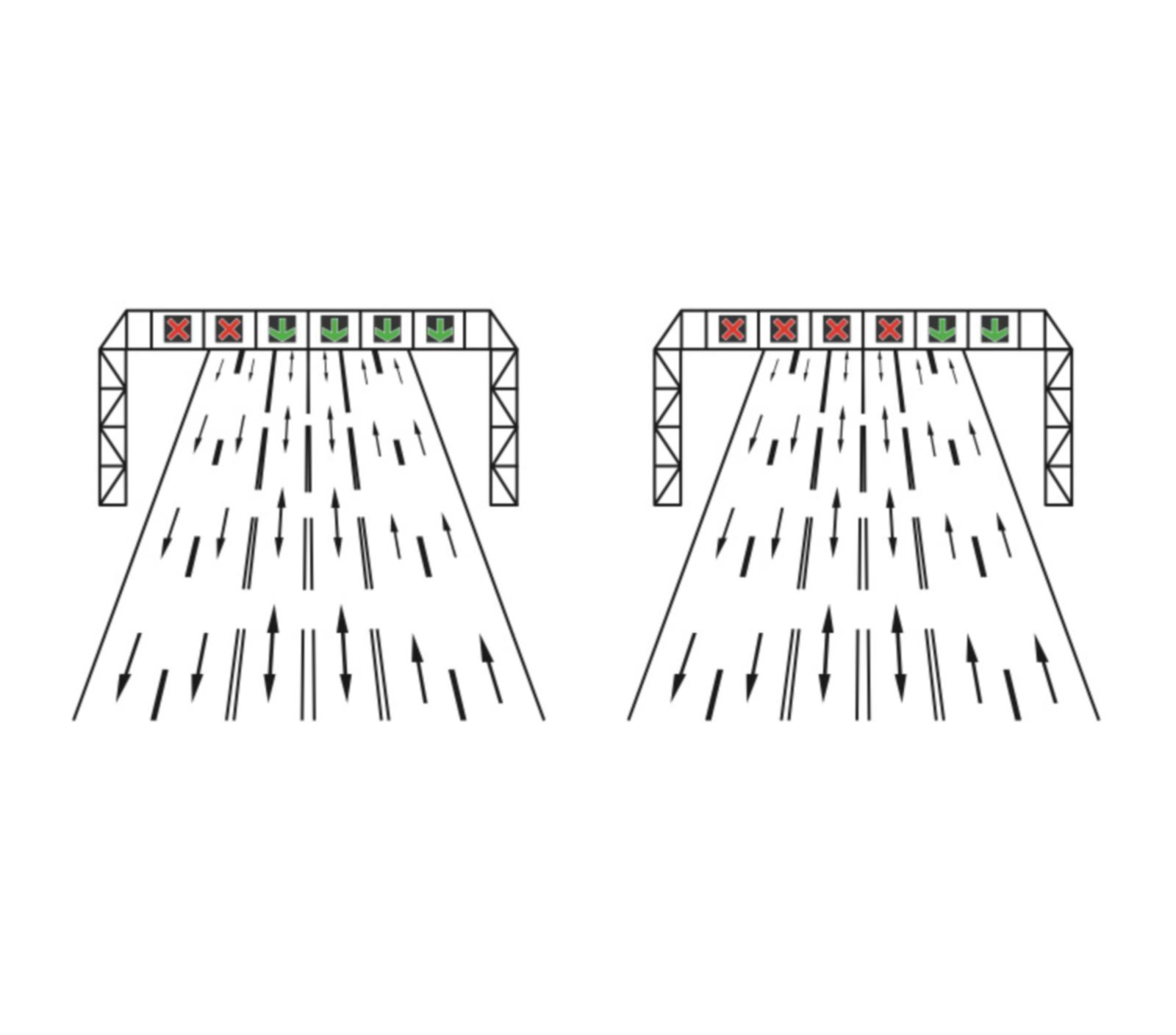 Dispoziții luminoase pentru dirijarea circulația pe benzi reversibile