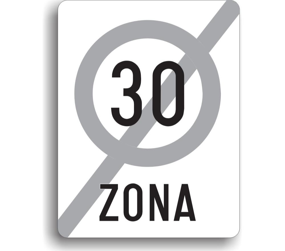 Sfârșitul zonei de viteză limitată la 30 km/h