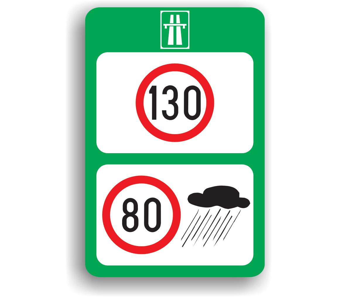 Limite maxime de viteză pe autostradă, ân funcție de condițiile meteorologice