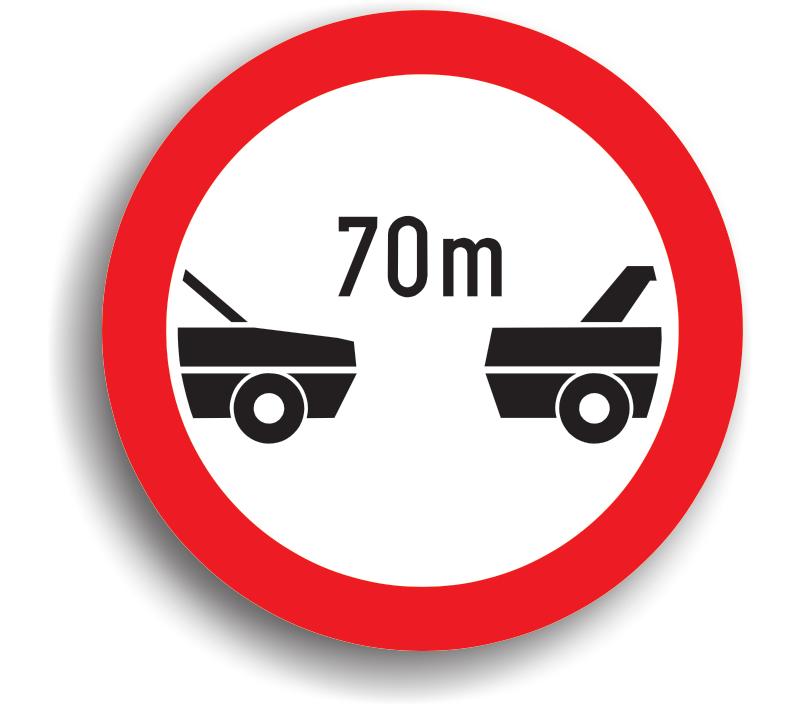 Interzis autovehiculelor de a circula fără a menține între ele un interval de cel puțin ... m