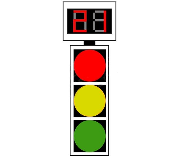 Semafor combinat cu dispozitiv de cronometrare a timpului aferent culorii