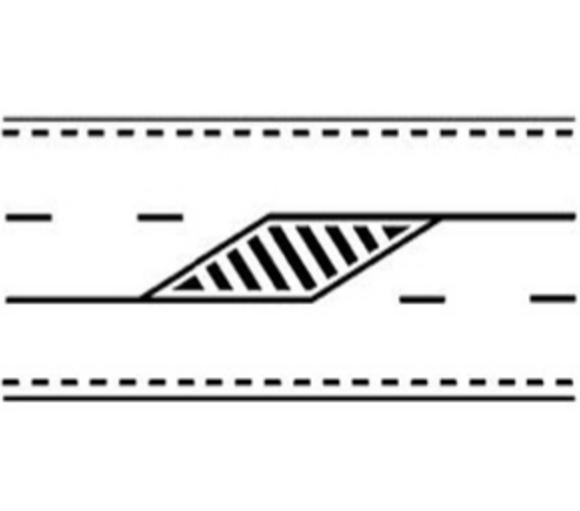 Marcaj pe drum cu trei benzi pentru alocarea alternativă a două benzi pentru unul sau celălat sens de circulație