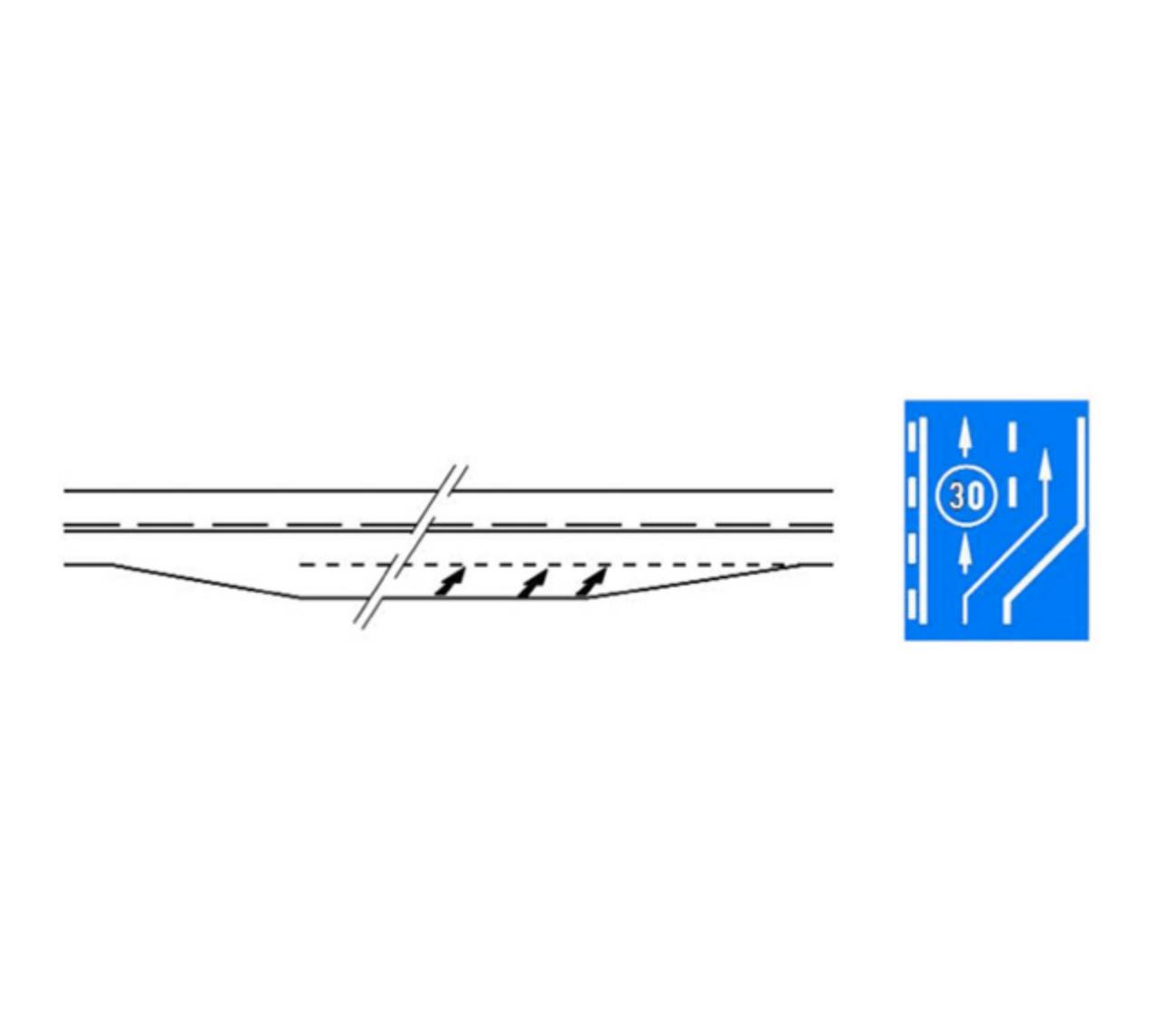Marcajul benzii suplimentare pentru vehicule lente