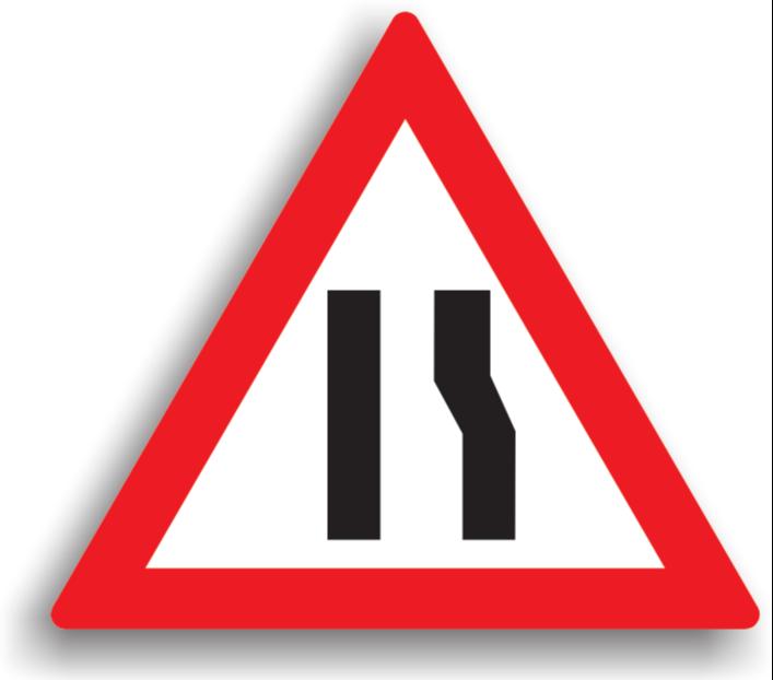 Drum îngustat pe partea dreaptă